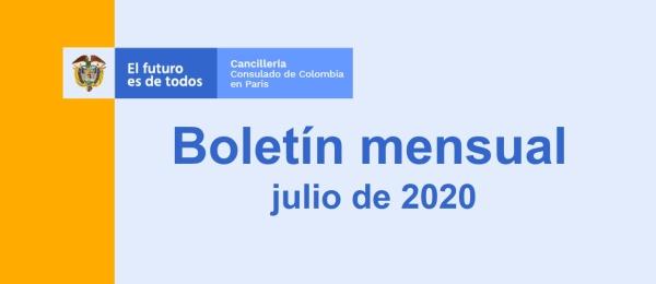 El Consulado de Colombia en París publica el boletín mensual julio de 2020