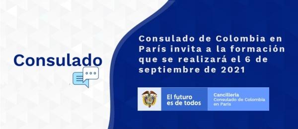 Consulado de Colombia en París invita a la formación que se realizará el 6 de septiembre