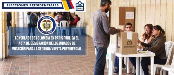 El Consulado de Colombia en París publica el acta de designación de los jurados de votación para la segunda vuelta presidencial