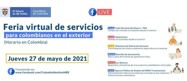 Consulado General de Colombia en París informa sobre la Feria virtual de servicios para colombianos en el exterior que se realizará el 27 de mayo