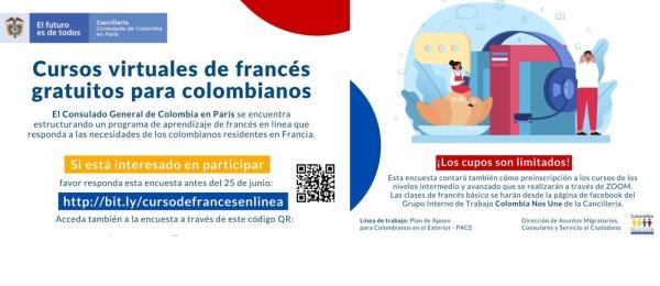 Cursos virtuales de francés gratuitos para colombianos, en el Consulado de Colombia en París. Diligencie la encuesta antes del 25 de junio de 2021