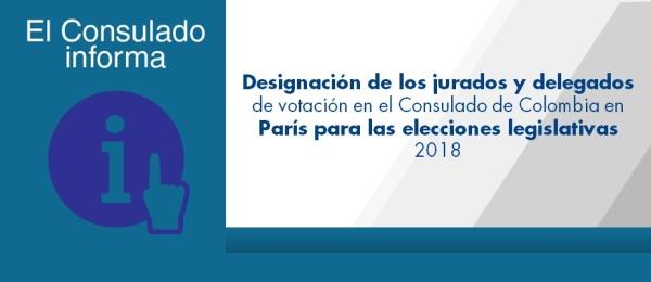 Designación de los jurados y delegados de votación en el Consulado de Colombia en París para las elecciones legislativas