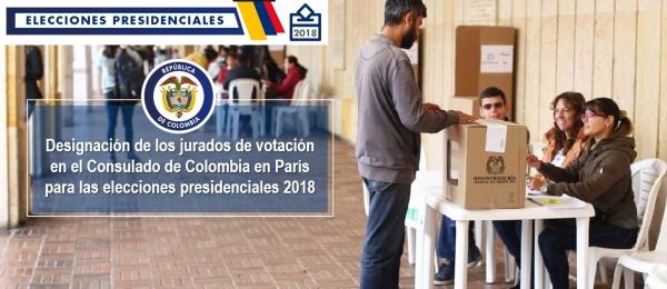 Designación de los jurados de votación en el Consulado de Colombia en París para las elecciones presidenciales 2018