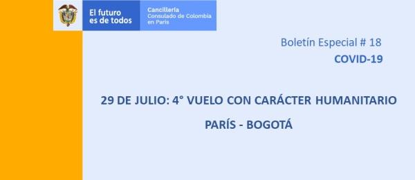 El 29 de julio se realiza el cuarto vuelo con carácter humanitario Francia - Colombia