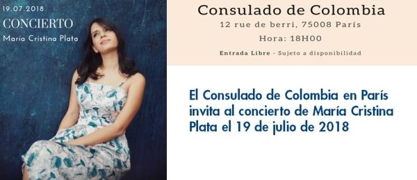 Consulado de Colombia en París invita al concierto de María Cristina Plata el 19 de julio