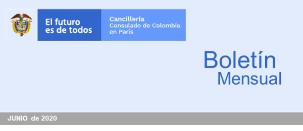 El Consulado de Colombia en París publica el boletín mensual junio de 2020