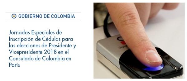 Jornadas Especiales de Inscripción de Cédulas para las elecciones de Presidente y Vicepresidente 2018 en el Consulado de Colombia