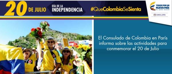 El Consulado de Colombia en París informa sobre las actividades para conmemorar el 20 de Julio