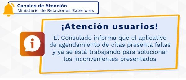 El Consulado de Colombia en París informa que el aplicativo de agendamiento de citas está presentando fallas