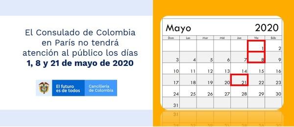 El Consulado de Colombia en París no tendrá atención al público los días 1, 8 y 21 de mayo de 2020