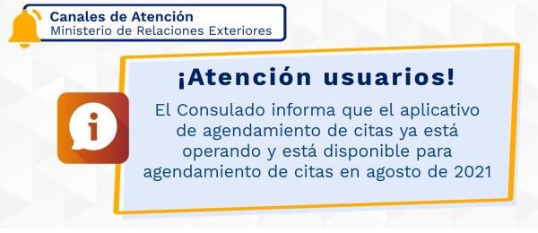 El Consulado de Colombia en París informa que el aplicativo de agendamiento de citas está funcionando correctamente