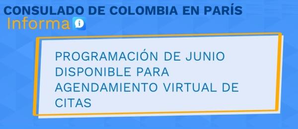 Programación de junio disponible para agendamiento virtual de citas en el Consulado de Colombia