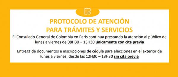 Nueva Guía para solicitud de citas y Protocolo de atención del Consulado General de Colombia en París