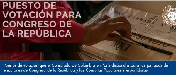Puestos de votación que el Consulado de Colombia en París dispondrá para las jornadas de elecciones de Congreso de la República y las Consultas Populares Interpartidistas  de 2018